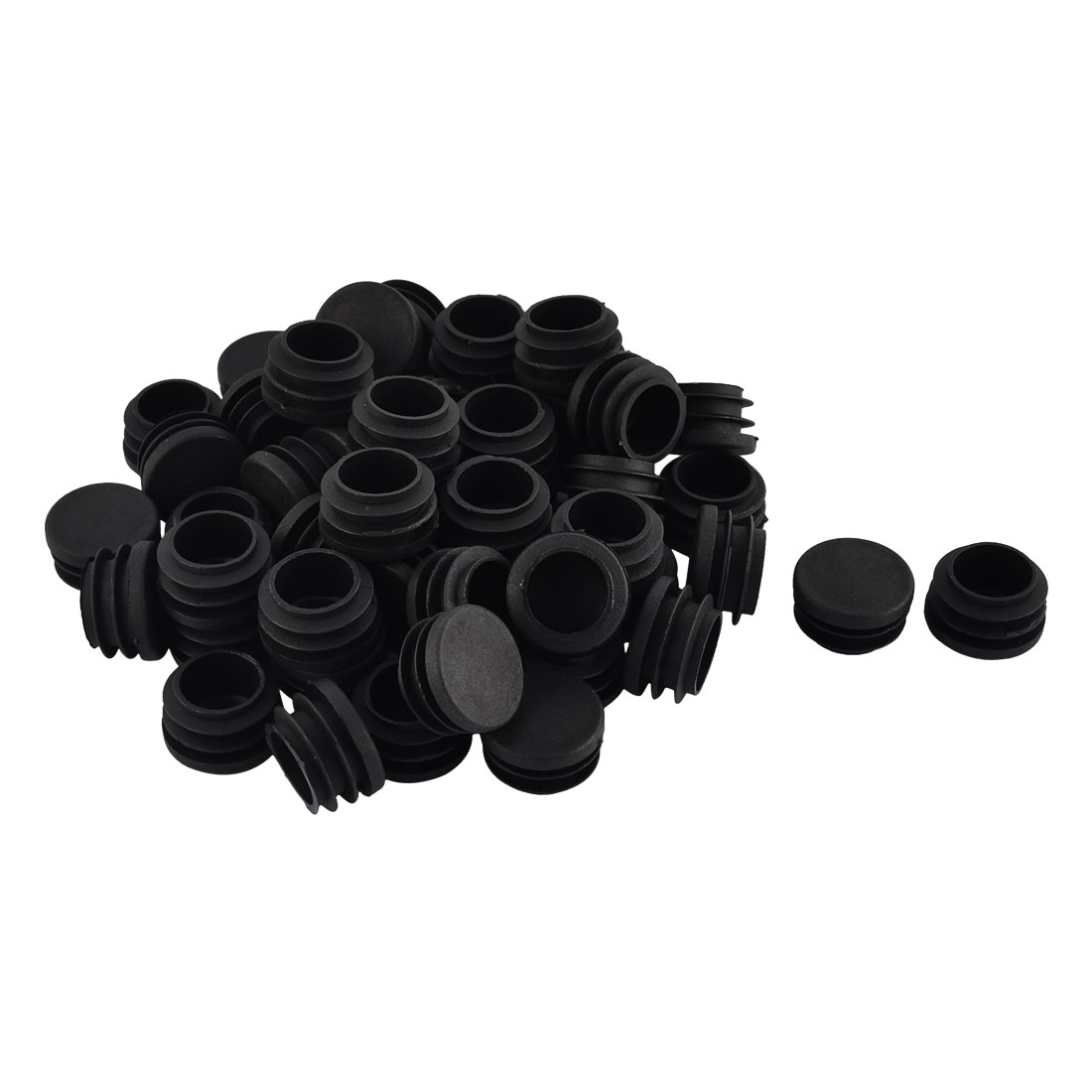 Furniture Table Chair Legs Plastic Flat Base Round Tube Pipe Insert Cap Cover Black 28mm Dia 50pcs