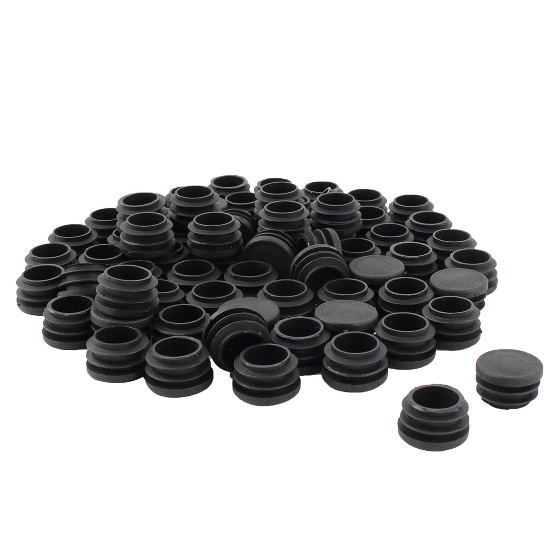 Furniture Table Chair Legs Plastic Flat Base Round Tube Pipe Insert Cap Cover Black 28mm Dia 70pcs