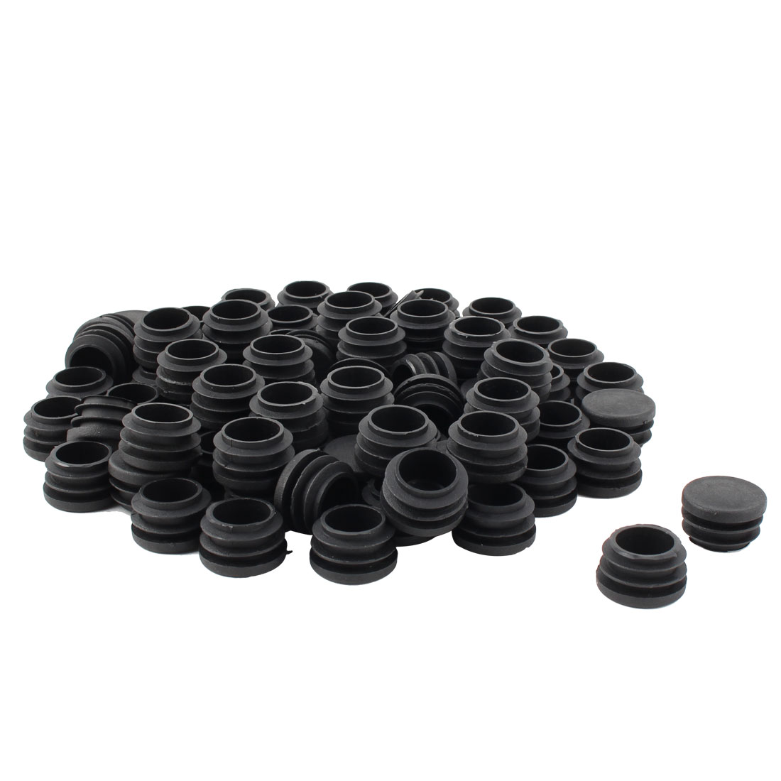 Furniture Table Chair Legs Plastic Flat Base Round Tube Pipe Insert Cap Cover Black 28mm Dia 80pcs