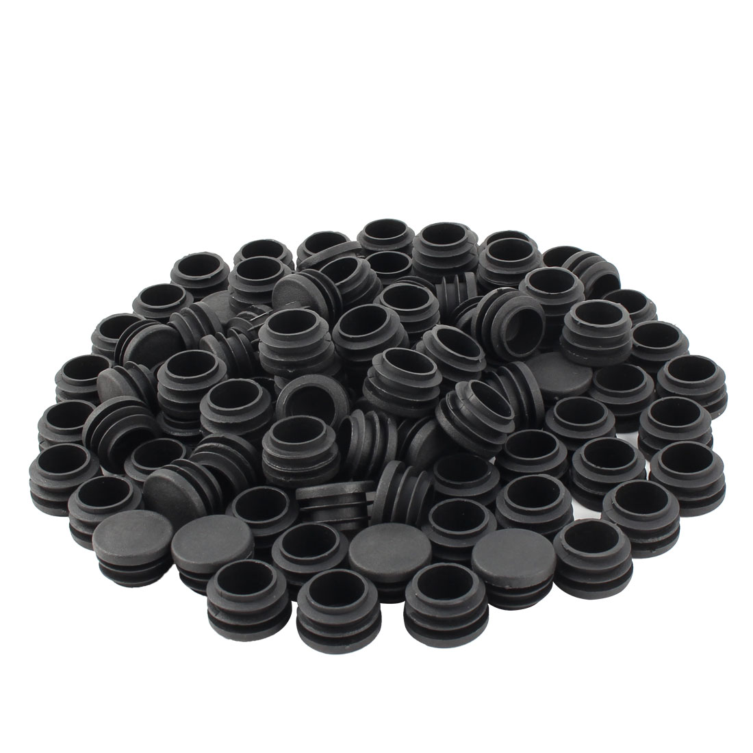 Furniture Table Chair Legs Plastic Flat Base Round Tube Pipe Insert Cap Cover Black 28mm Dia 100pcs