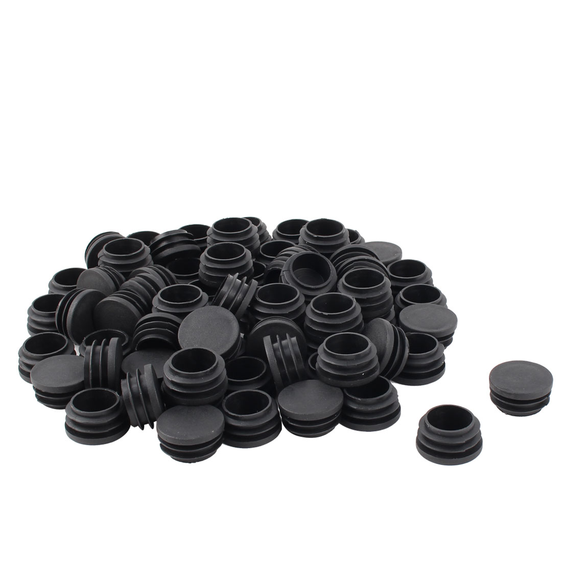Furniture Desk Chair Plastic Round Tube Insert Pipe Cover Black 32mm Dia 70pcs