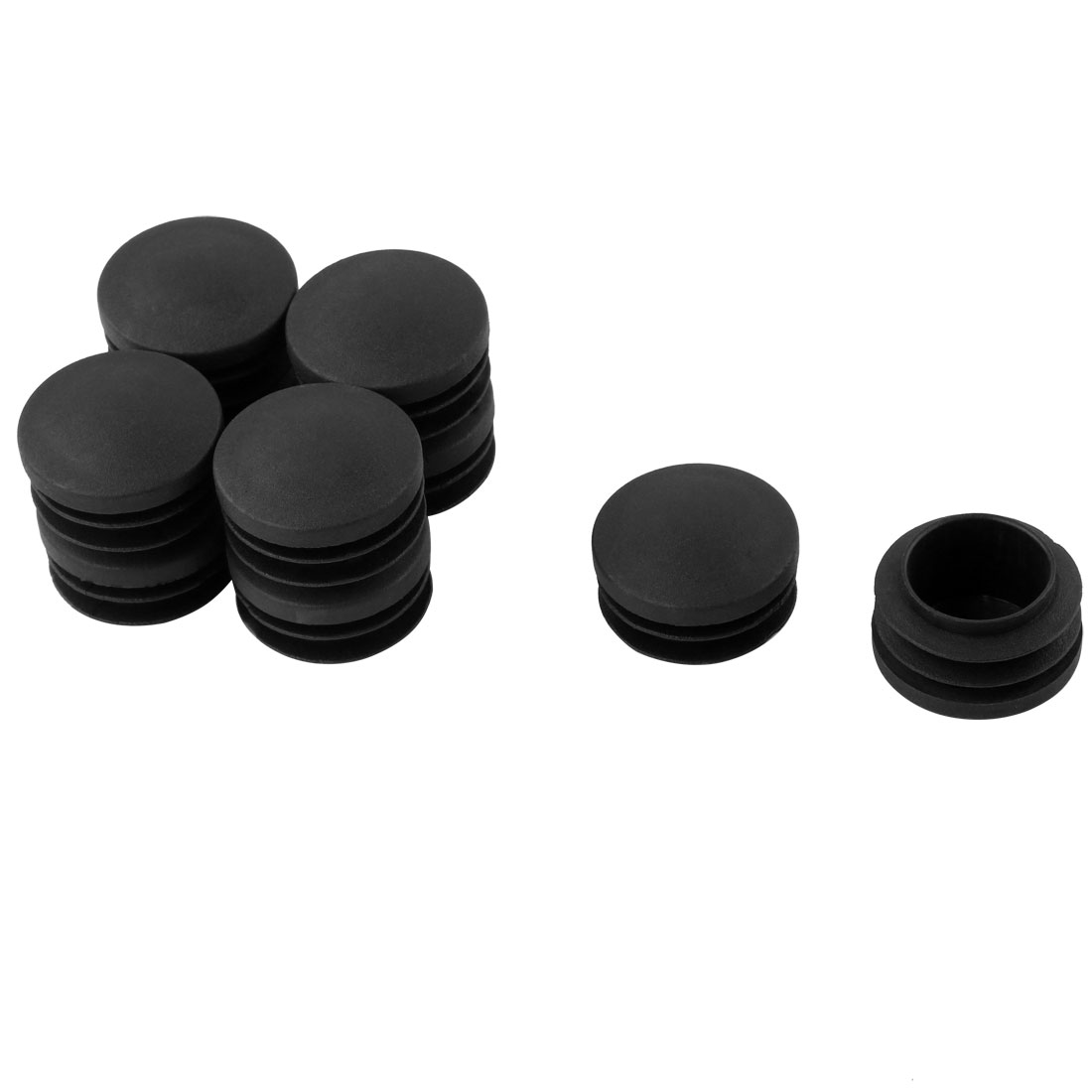 Furniture Table Chair Plastic Round Tube Insert Tubing Cap Pipe Cover Black 35mm Dia 10pcs