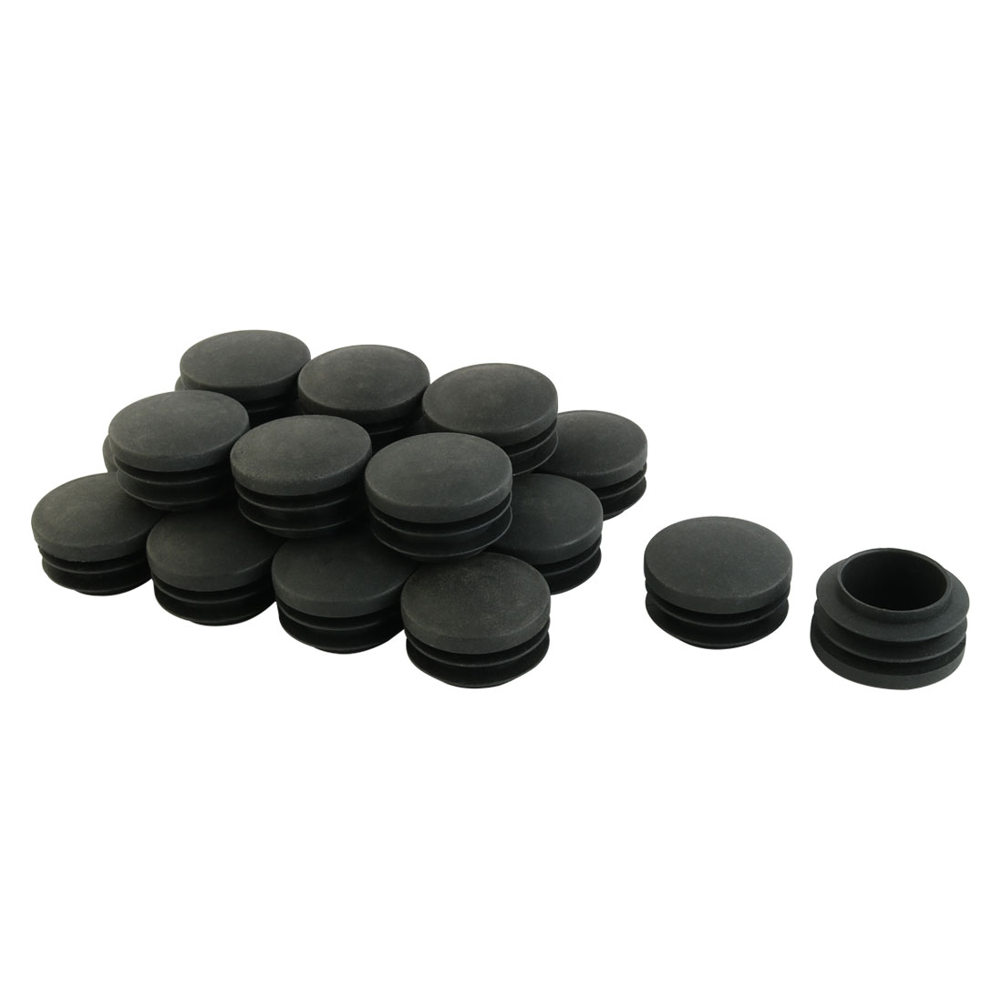 Furniture Table Chair Plastic Round Tube Insert Tubing Cap Pipe Cover Black 35mm Dia 20pcs