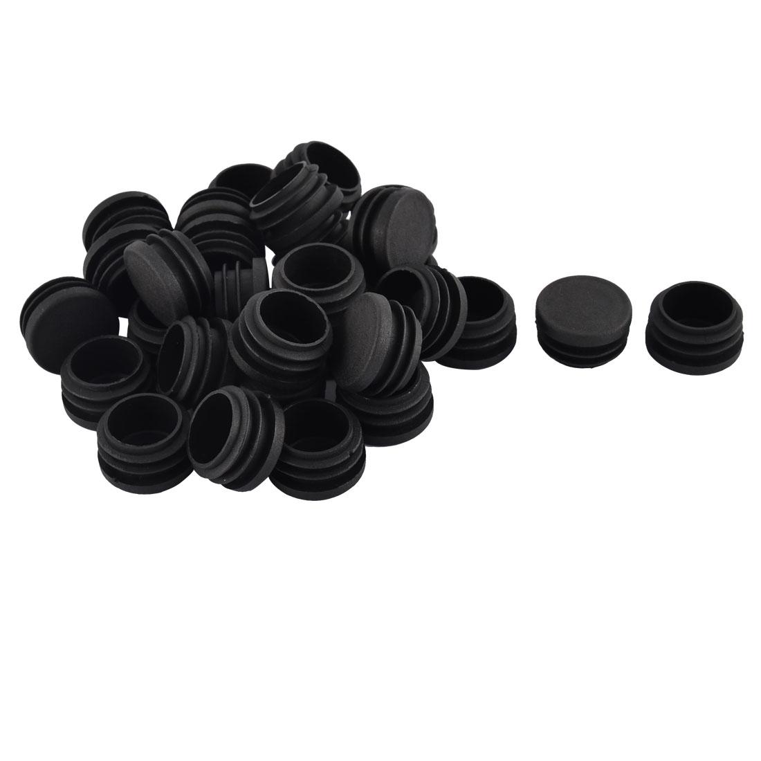 Table Chair Plastic Round Tube Insert Tubing Cap Pipe Cover Black 40mm Dia 40pcs