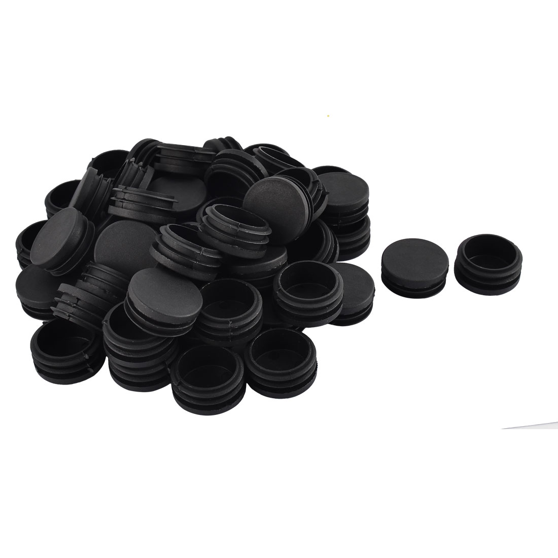 Table Chair Plastic Round Tube Insert Tubing Cap Pipe Cover Black 40mm Dia 50pcs