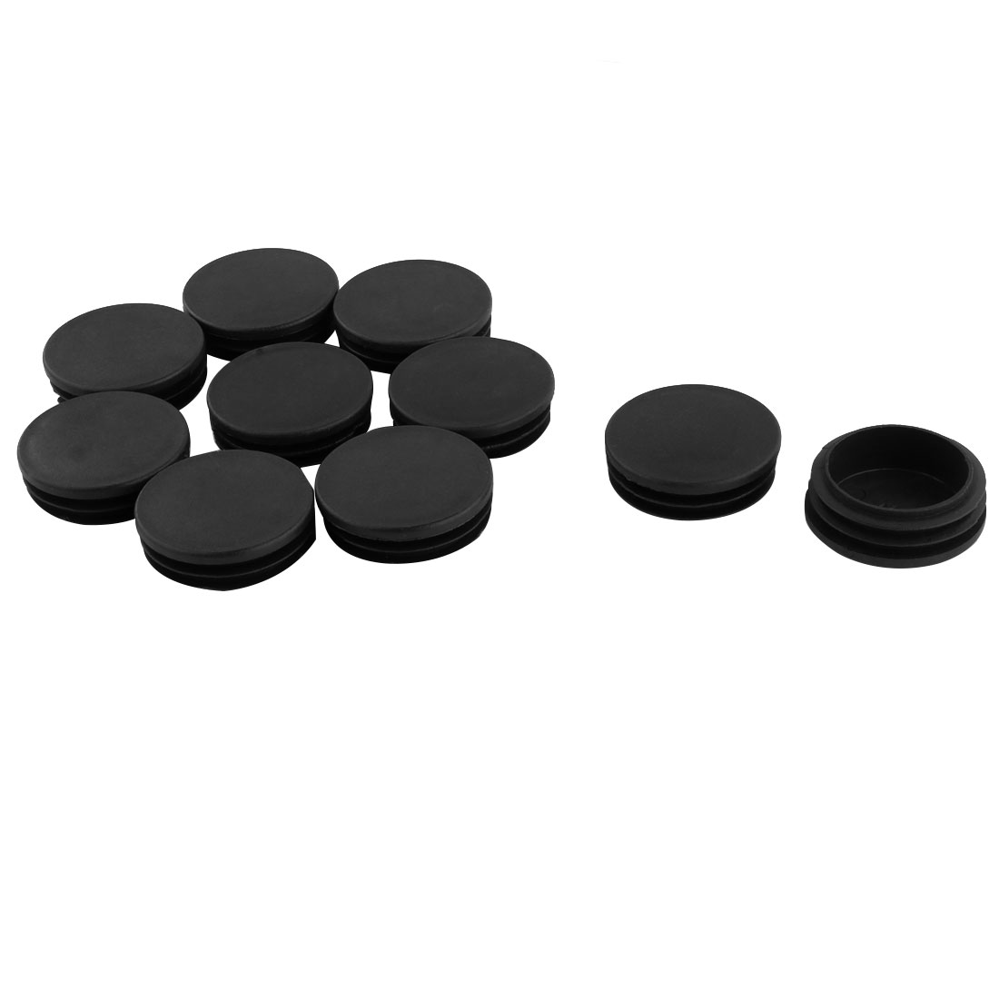Furniture Table Chair Plastic Round Tube Insert Tubing Cap Pipe Cover Black 48mm Dia 10pcs