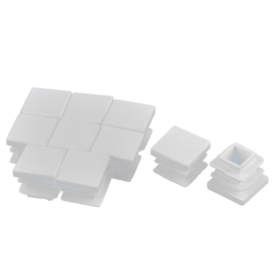 Furniture Desk Chair Legs Plastic Square Tube Pipe Insert Cover End Caps White 16 x 16mm 10pcs