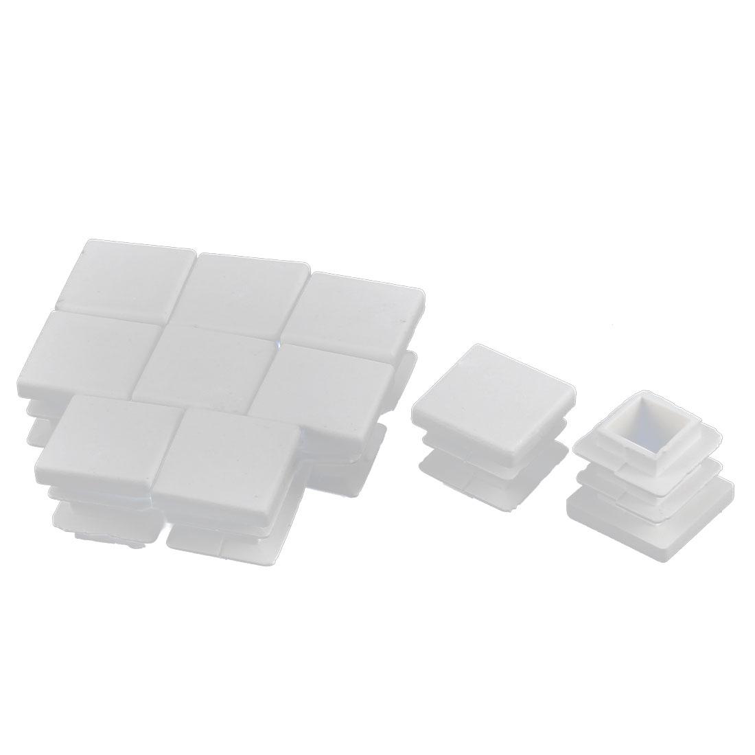 Furniture Desk Chair Legs Plastic Square Tube Pipe Insert Cover End Caps White 16 x 16mm 10pcs