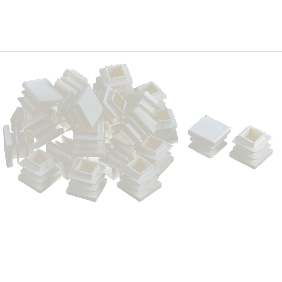 Furniture Desk Chair Legs Plastic Square Tube Pipe Insert Cover End Caps White 16 x 16mm 30pcs