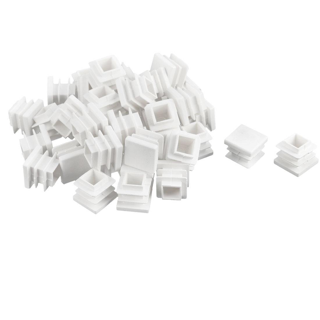 Furniture Desk Chair Legs Plastic Square Tube Pipe Insert Cover End Caps White 16 x 16mm 40pcs
