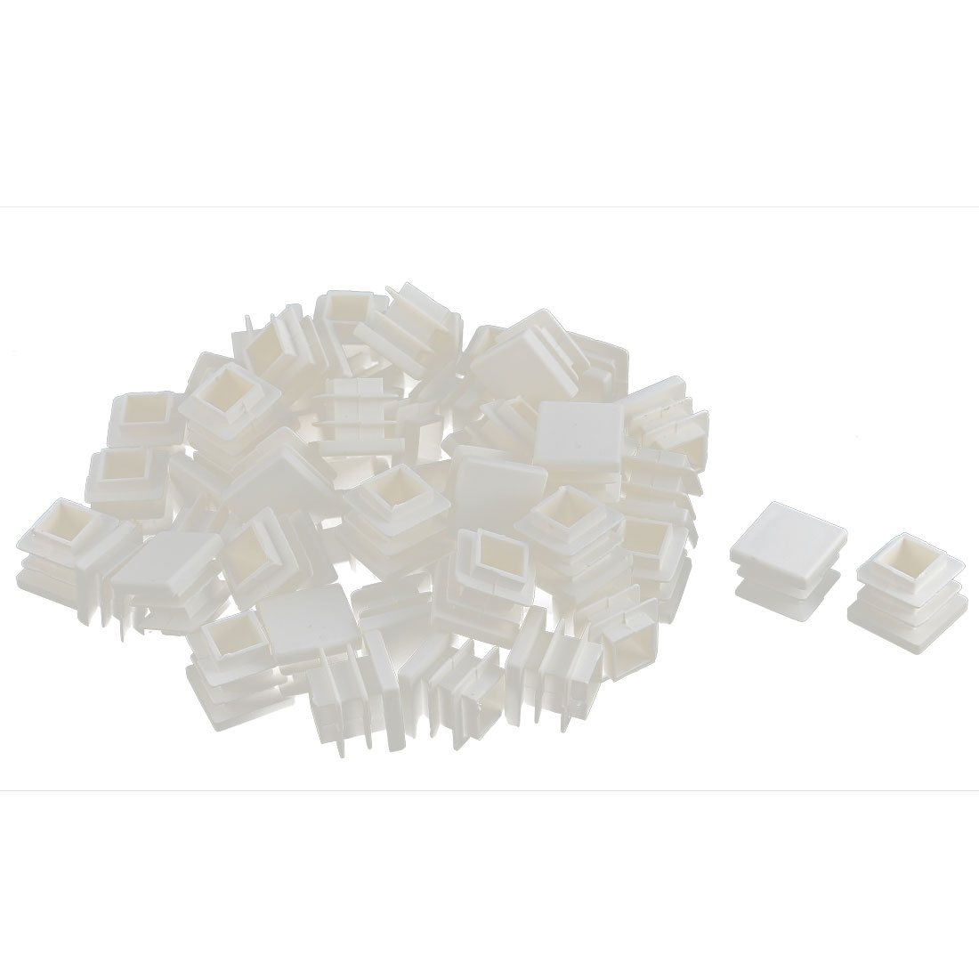 Furniture Desk Chair Legs Plastic Square Tube Pipe Insert Cover End Caps White 16 x 16mm 50pcs