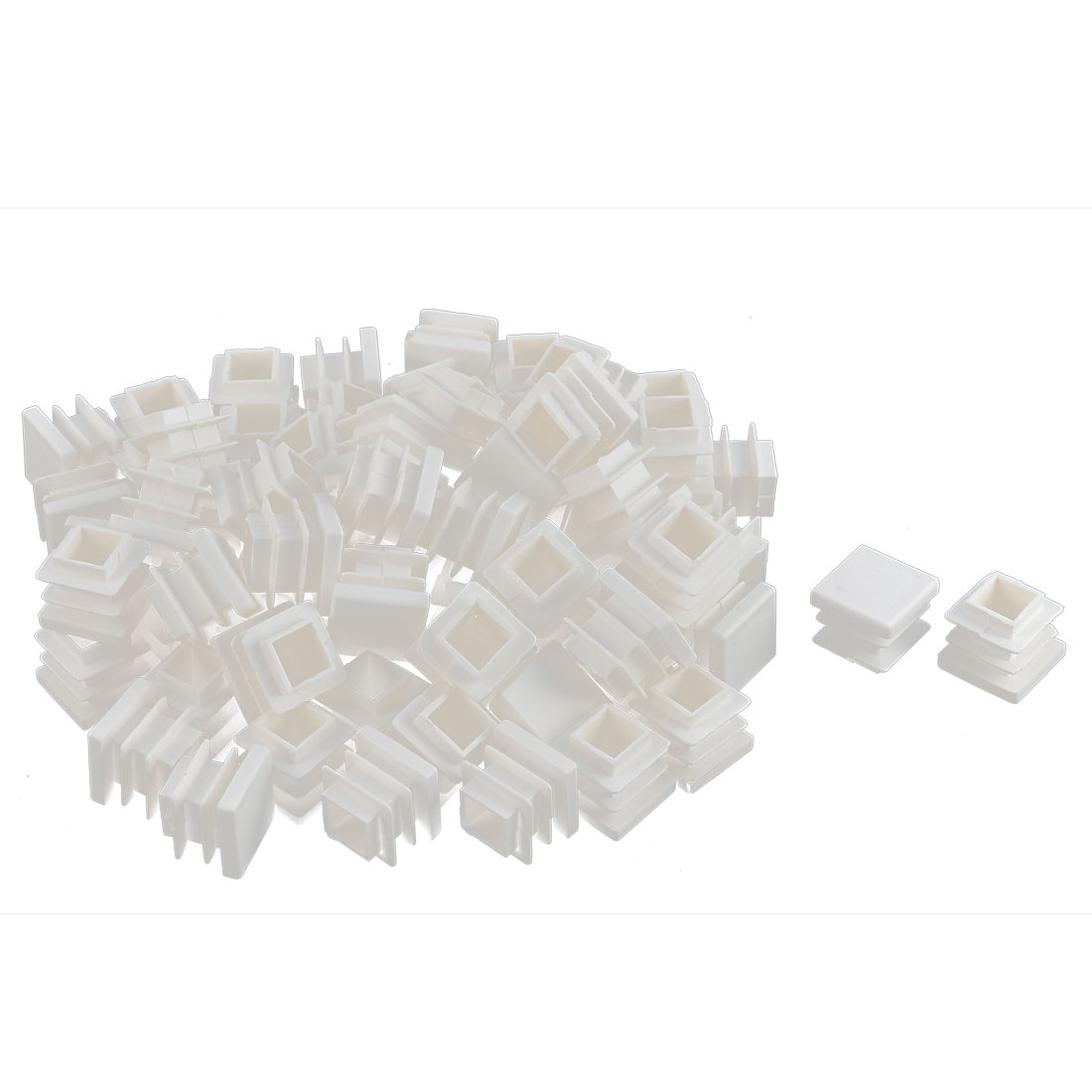 Furniture Desk Chair Legs Plastic Square Tube Pipe Insert Cover End Caps White 16 x 16mm 70pcs