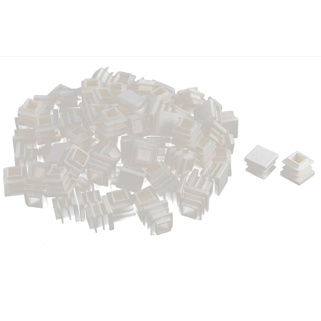 Furniture Desk Chair Legs Plastic Square Tube Pipe Insert Cover End Caps White 16 x 16mm 100pcs