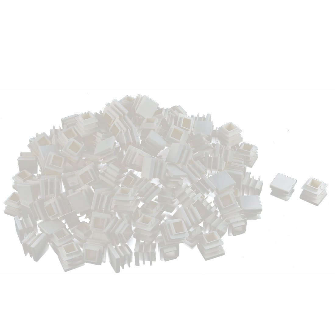 Furniture Desk Chair Legs Plastic Square Tube Pipe Insert Cover End Caps White 16 x 16mm 200pcs