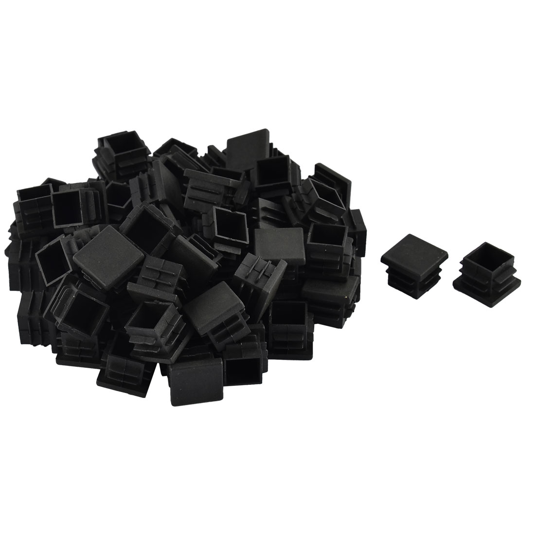 Furniture Table Chair Legs Plastic Square Tube Pipe Insert Cap Cover Black 19 x 19mm 70pcs