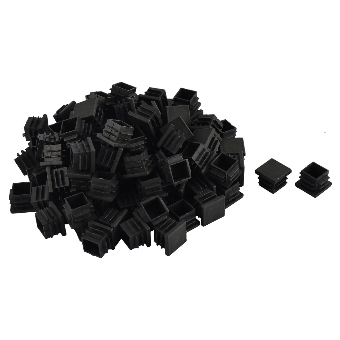 Furniture Table Chair Legs Plastic Square Tube Pipe Insert Cap Cover Black 19 x 19mm 100pcs