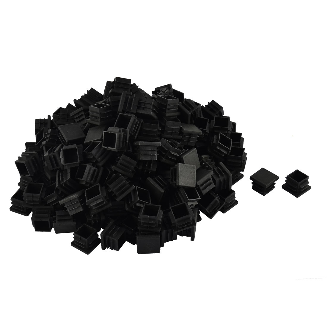 Furniture Table Chair Legs Plastic Square Tube Pipe Insert Cap Cover Black 19 x 19mm 200pcs
