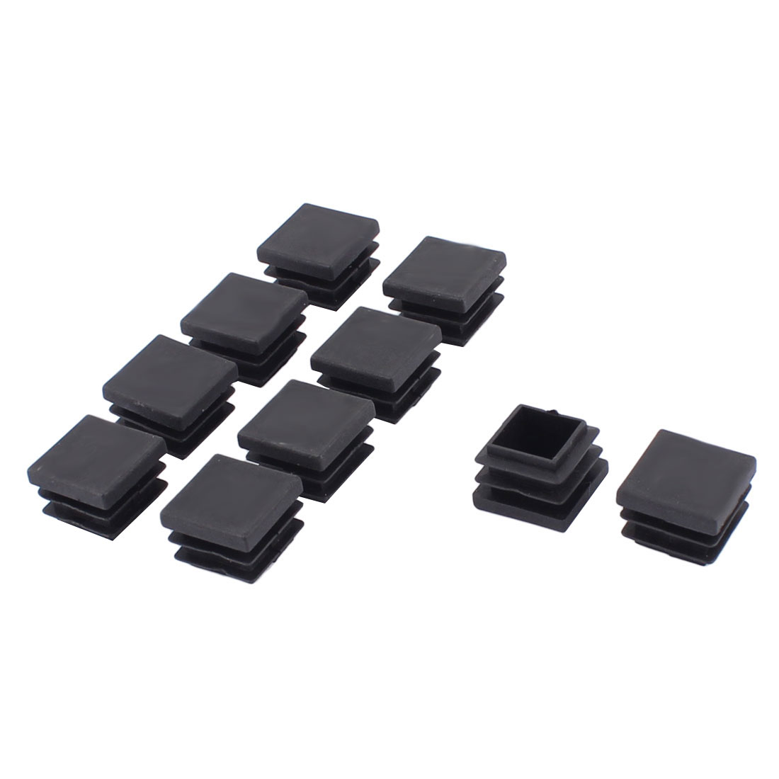 Furniture Table Chair Plastic Tubing Square Tube Pipe Inserts Caps Black 22mm x 22mm 10pcs