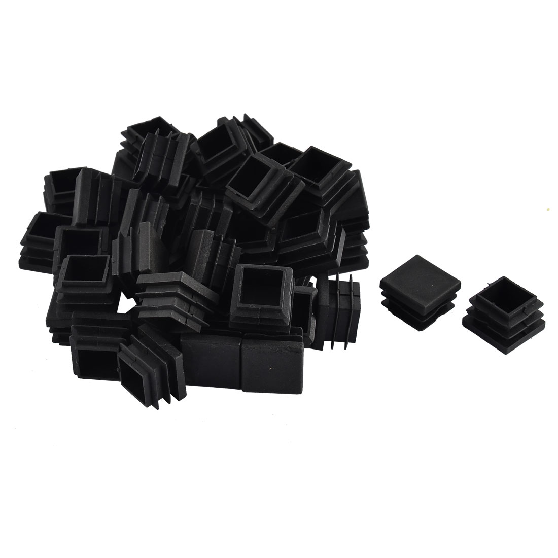 Furniture Table Chair Legs Plastic Square Tube Pipe Insert Cap Cover Black 22 x 22mm 50pcs