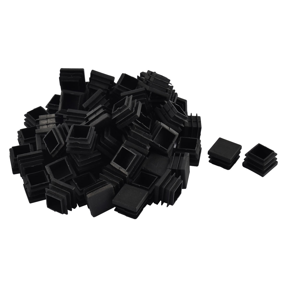 Furniture Table Chair Legs Plastic Square Tube Pipe Insert Cap Cover Black 22 x 22mm 70pcs