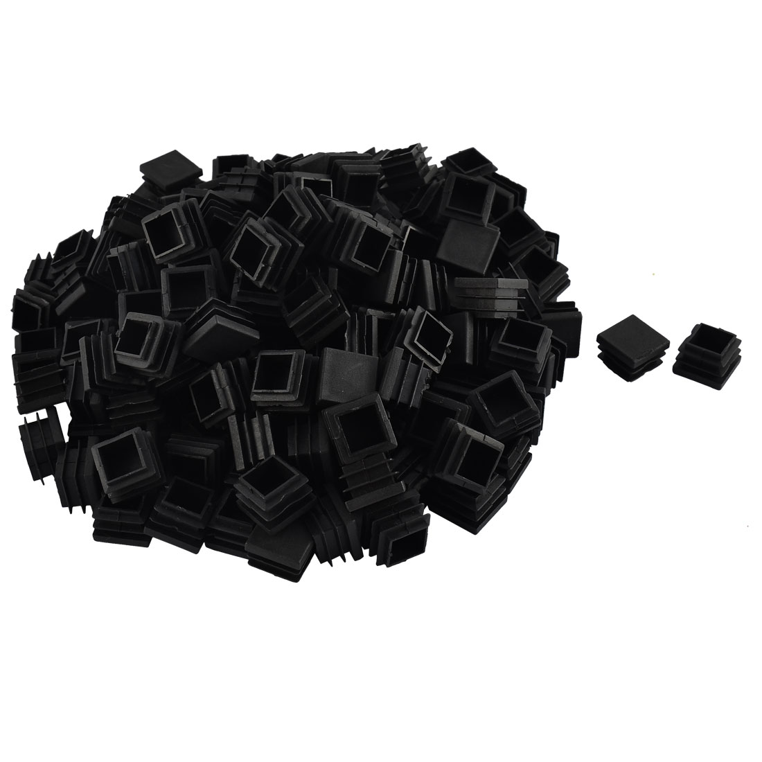 Furniture Table Chair Legs Plastic Square Tube Pipe Insert Cap Cover Black 22 x 22mm 200pcs