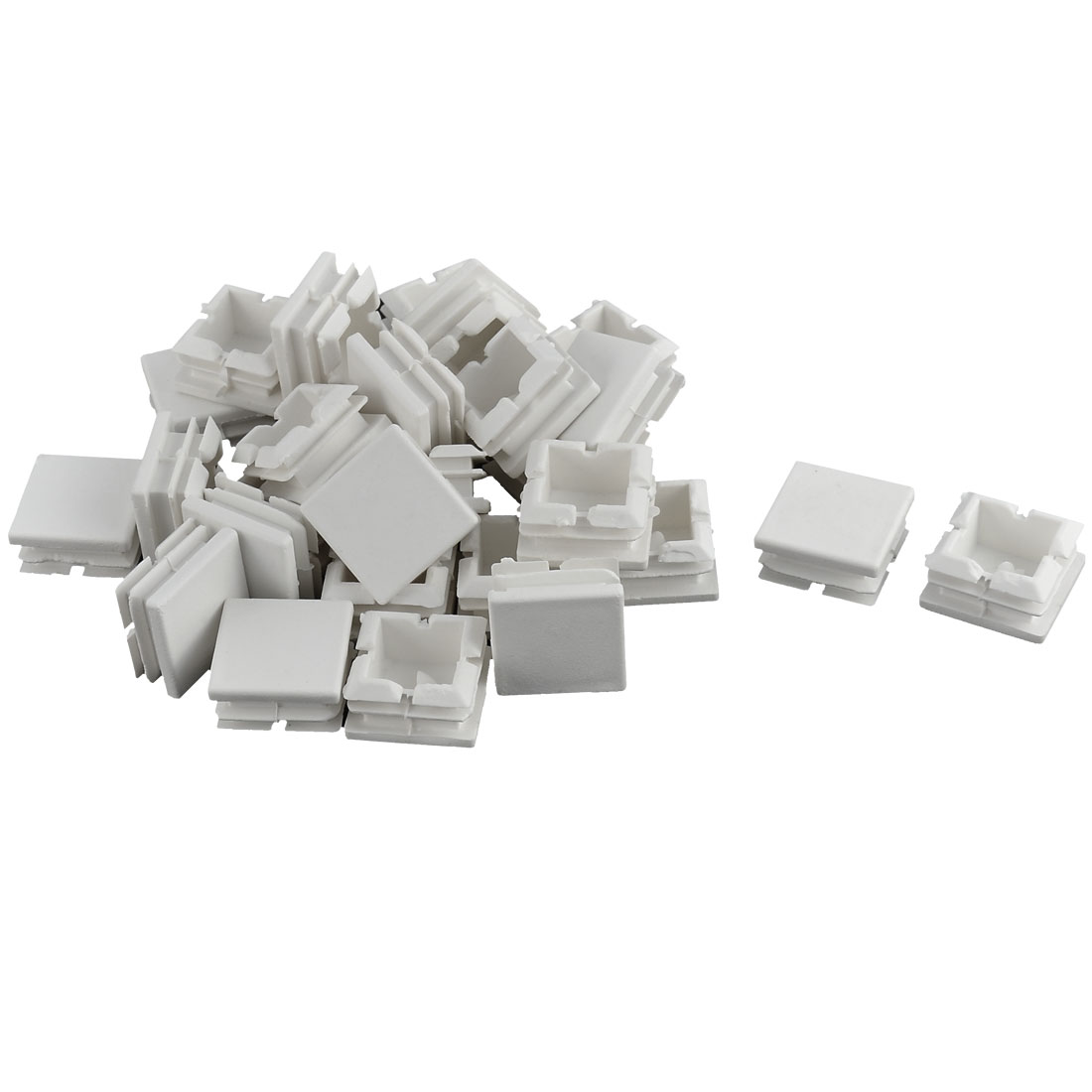 Furniture Table Chair Legs Plastic Square Tube Insert Cap Cover Protector White 25 x 25mm 30pcs
