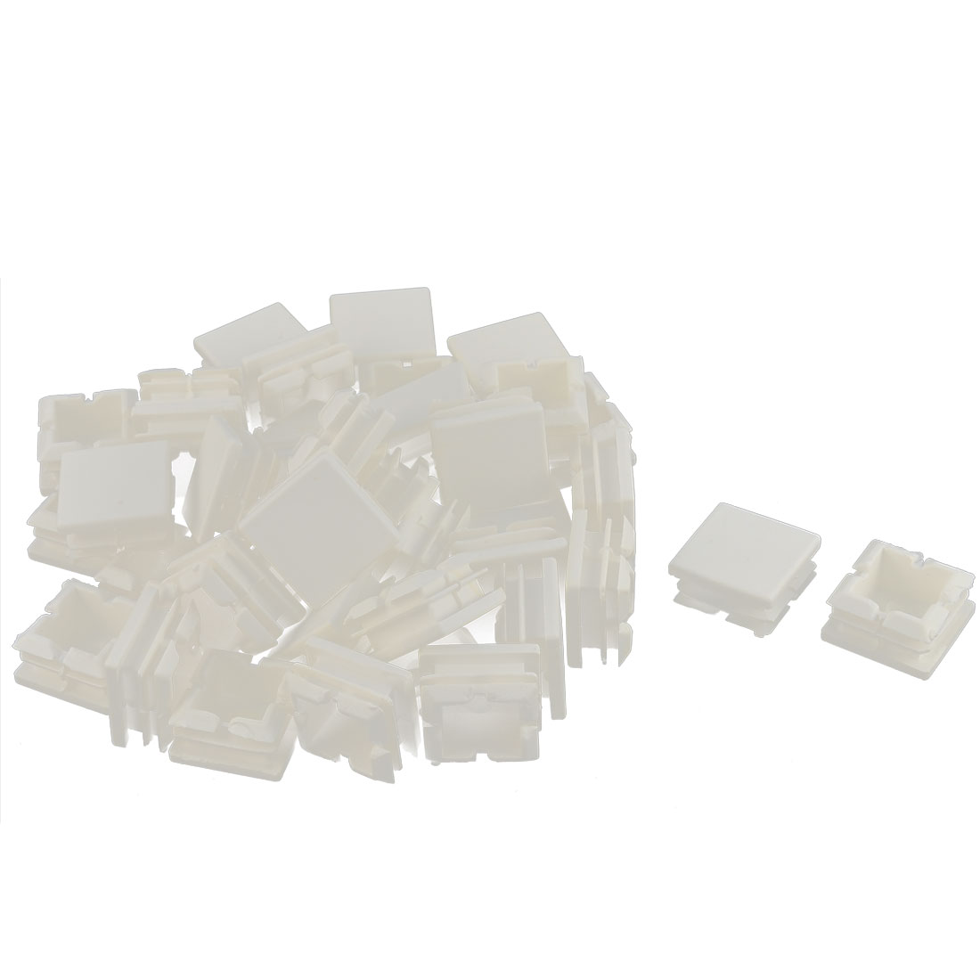 Furniture Table Chair Legs Plastic Square Tube Insert Cap Cover Protector White 25 x 25mm 40pcs