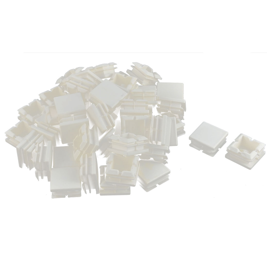 Furniture Table Chair Legs Plastic Square Tube Insert Cap Cover Protector White 25 x 25mm 50pcs