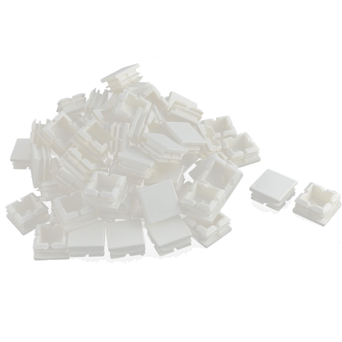 Furniture Table Chair Legs Plastic Square Tube Insert Cap Cover Protector White 25 x 25mm 70pcs