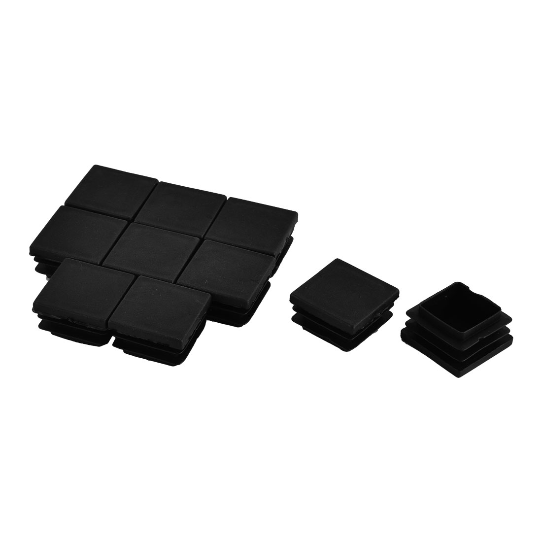 Furniture Table Chair Legs Plastic Square Tube Pipe Insert Cap Cover Black 32 x 32mm 10pcs