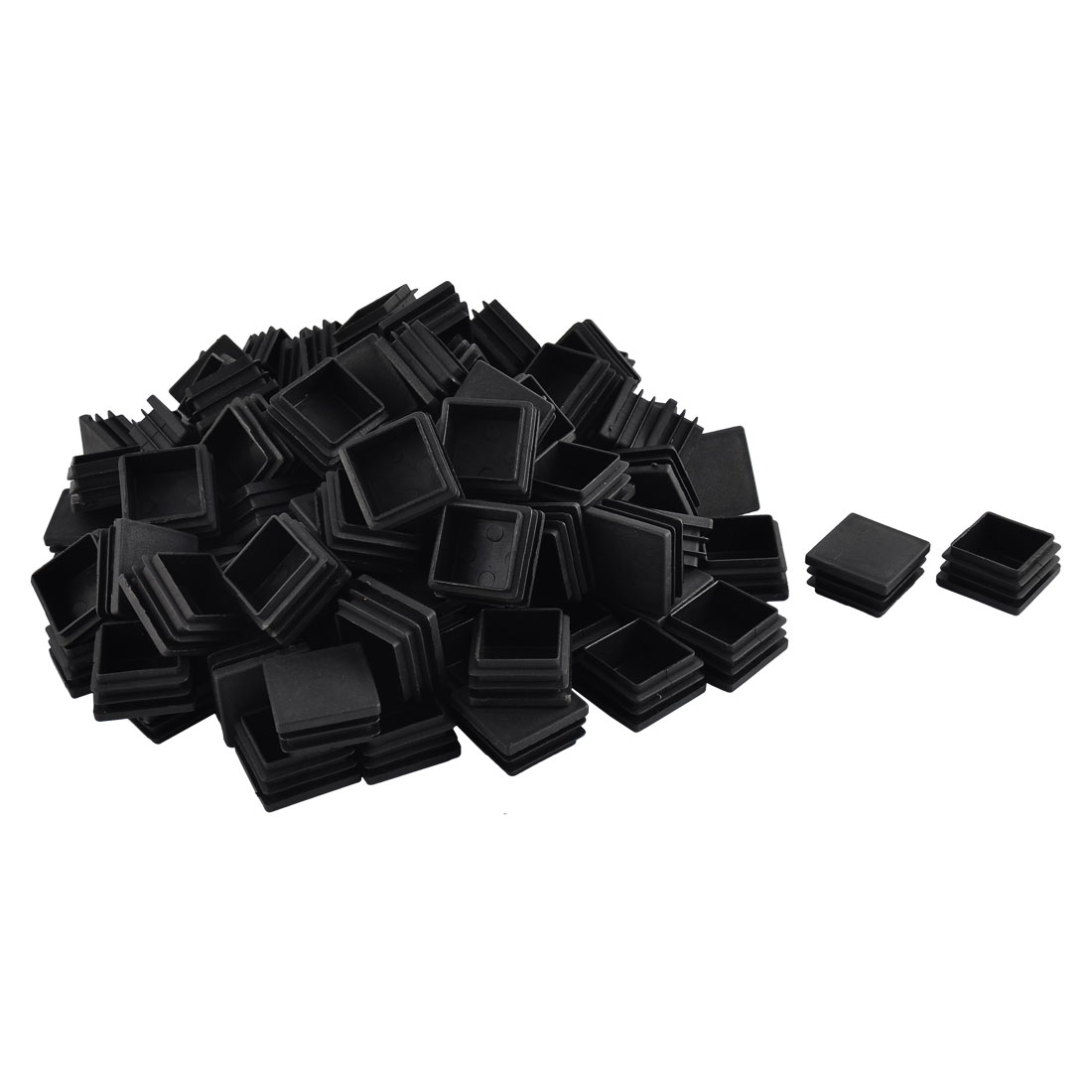 Furniture Table Chair Plastic Square Tube Pipe Insert Cap Cover Protector Black 35 x 35mm 100pcs