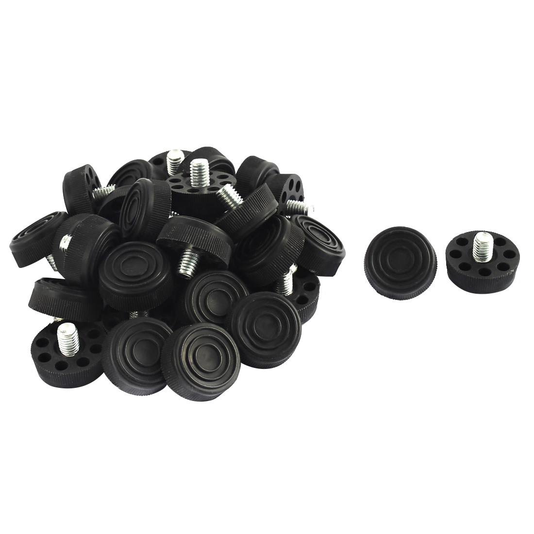 Furniture Table Chair 8 Holes Base Adjustable Leveling Foot Black M8 x 10mm Male Thread 30pcs