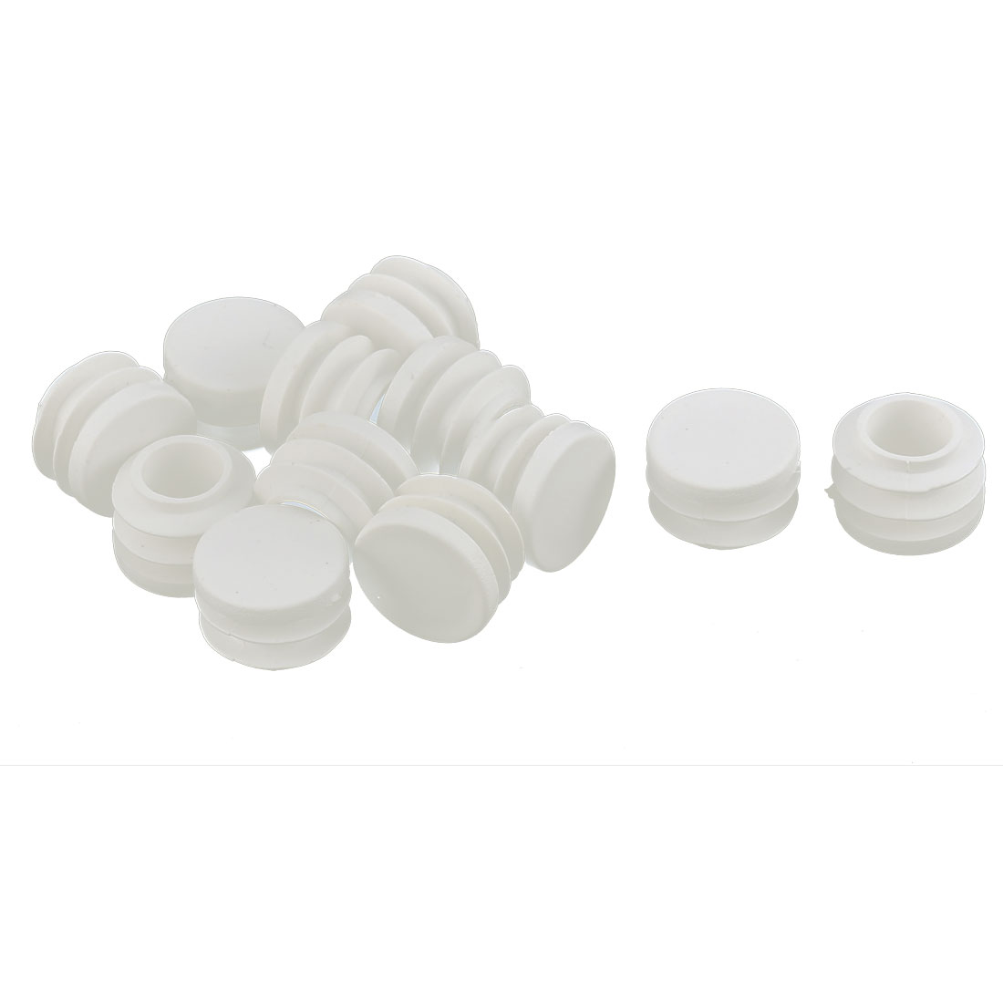 Table Chair Plastic Round Tube Pipe Insert Cap Cover Protector White 19mm Dia 12pcs