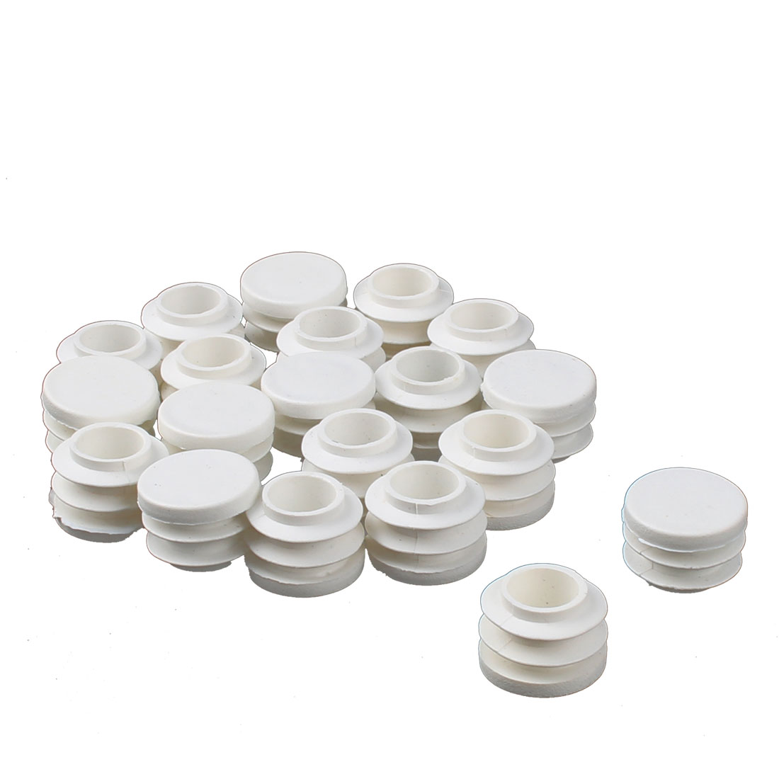 Table Chair Plastic Round Tube Pipe Insert Cap Cover Protector White 19mm Dia 20pcs