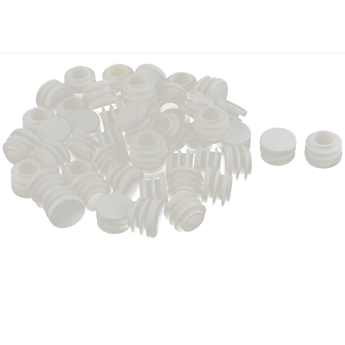 Table Chair Plastic Round Tube Pipe Insert Cap Cover Protector White 19mm Dia 50pcs