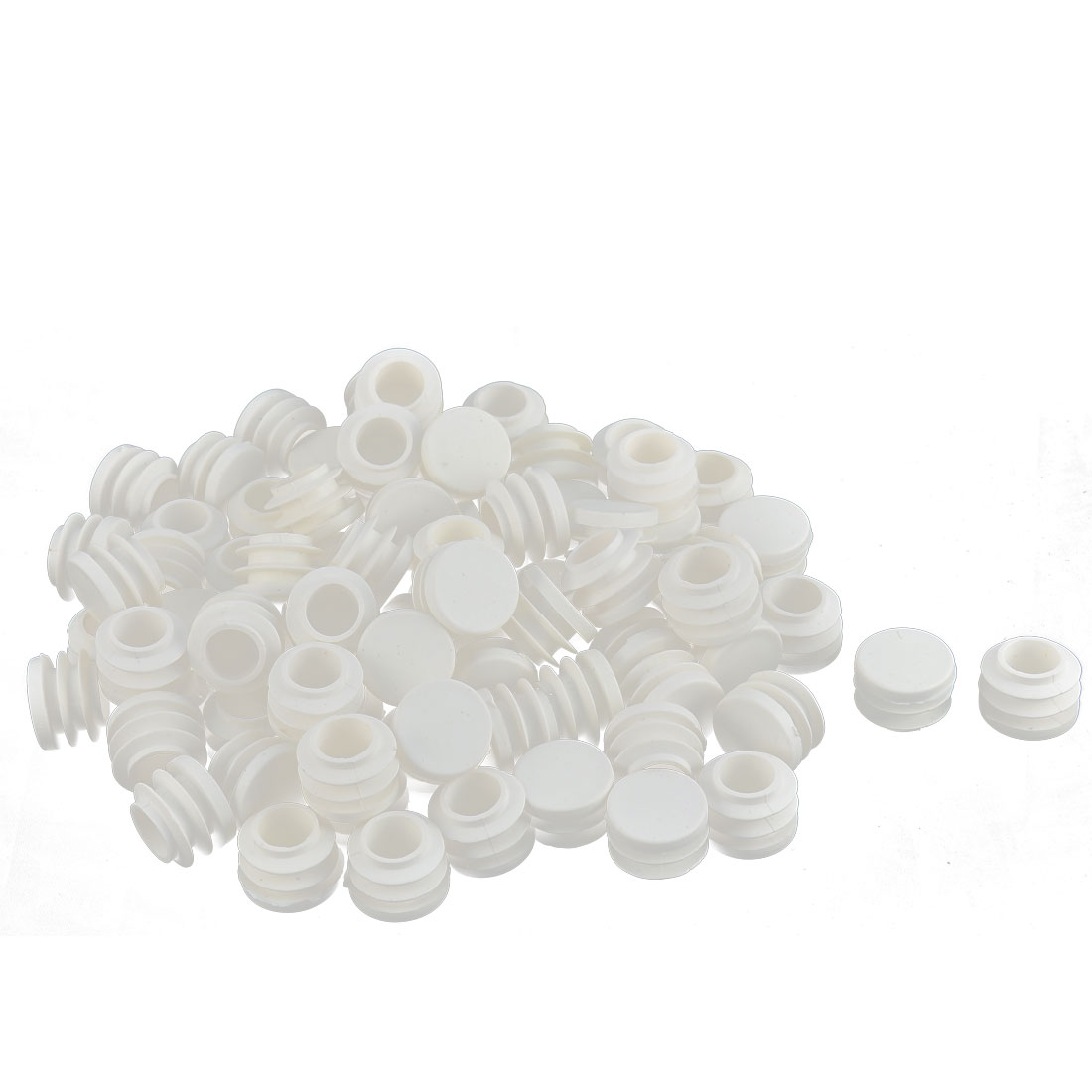 Table Chair Plastic Round Tube Pipe Insert Cap Cover Protector White 19mm Dia 80pcs