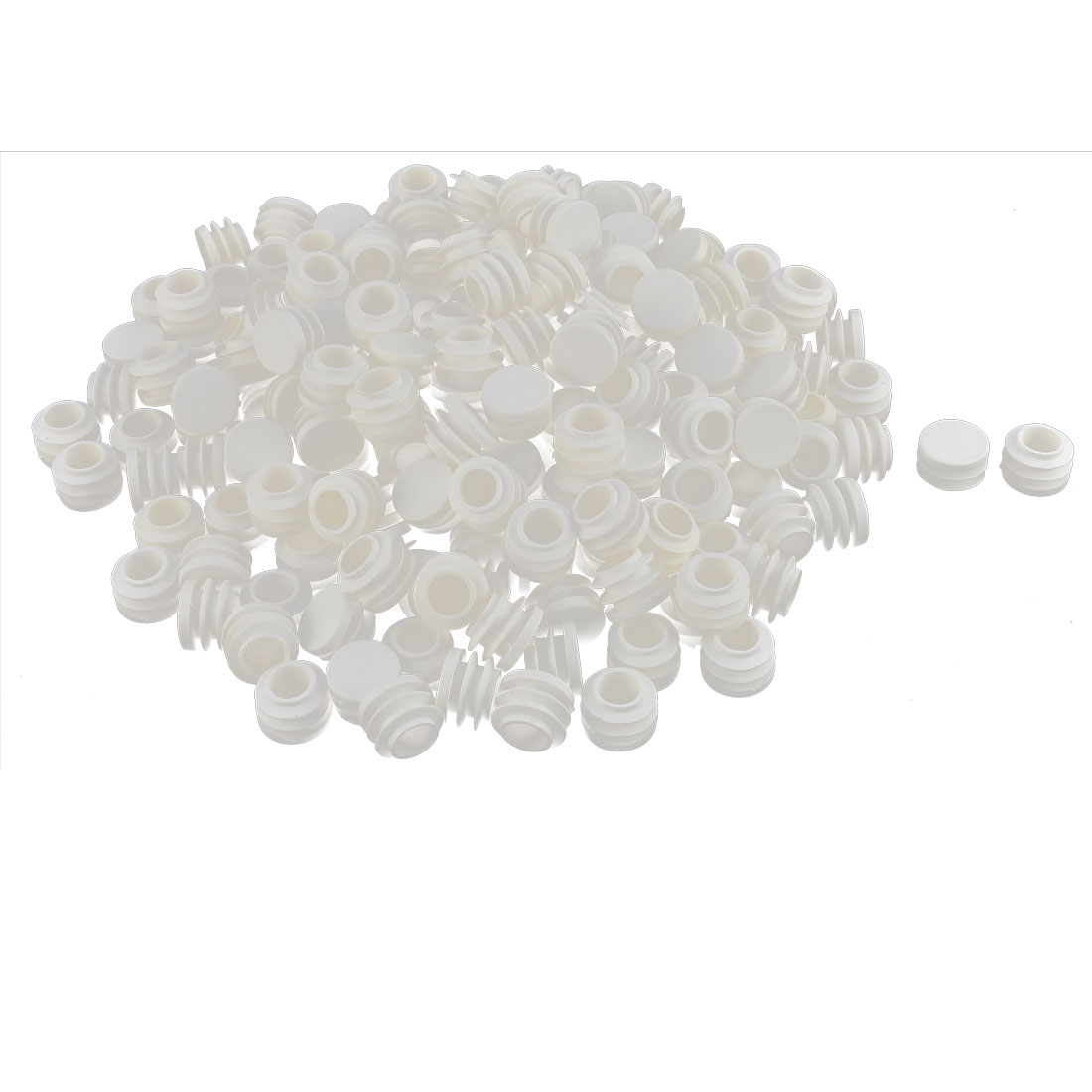 Table Chair Plastic Round Tube Pipe Insert Cap Cover Protector White 19mm Dia 200pcs