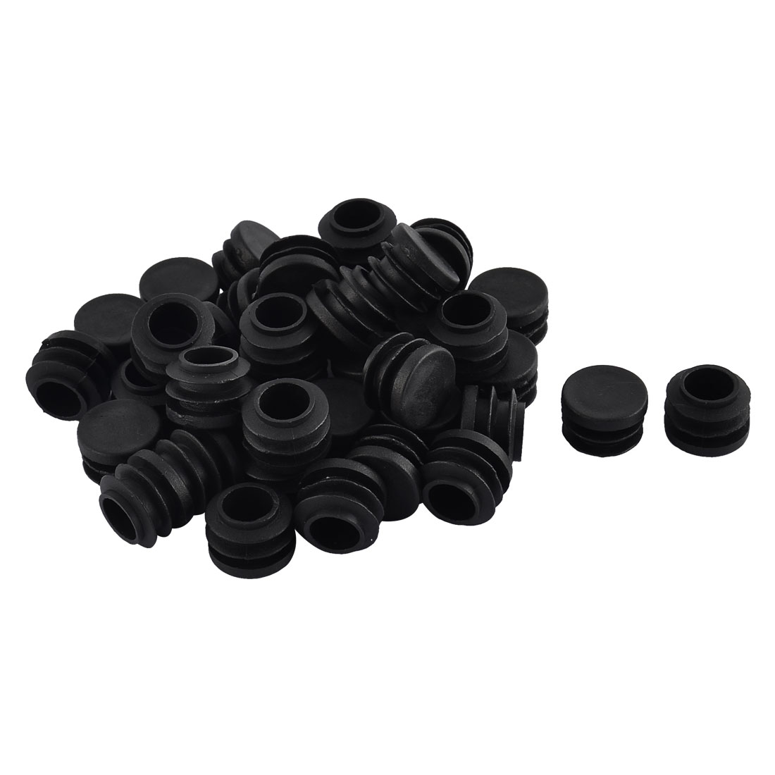 Furniture Table Chair Plastic Round Tube Pipe Insert Cap Cover Protector Black 19mm Dia 40pcs