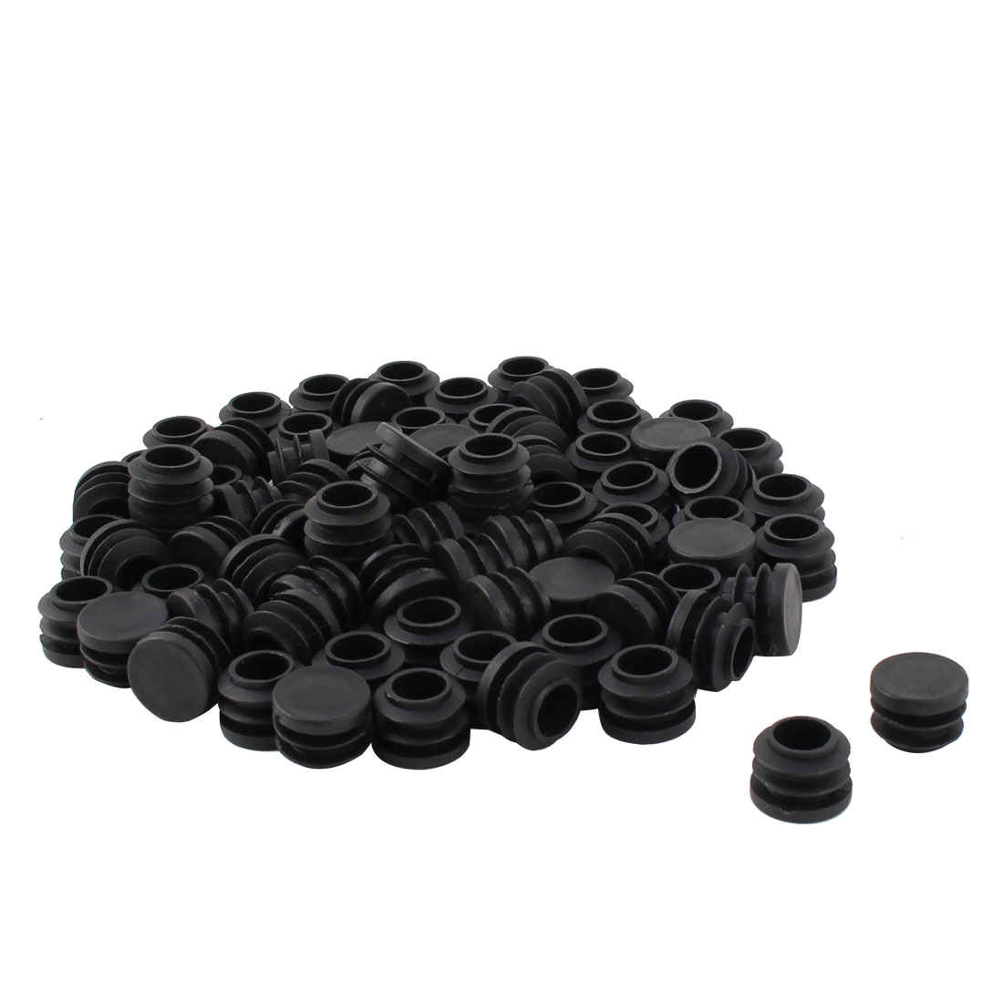 Furniture Table Chair Plastic Round Tube Pipe Insert Cap Cover Protector Black 19mm Dia 80pcs