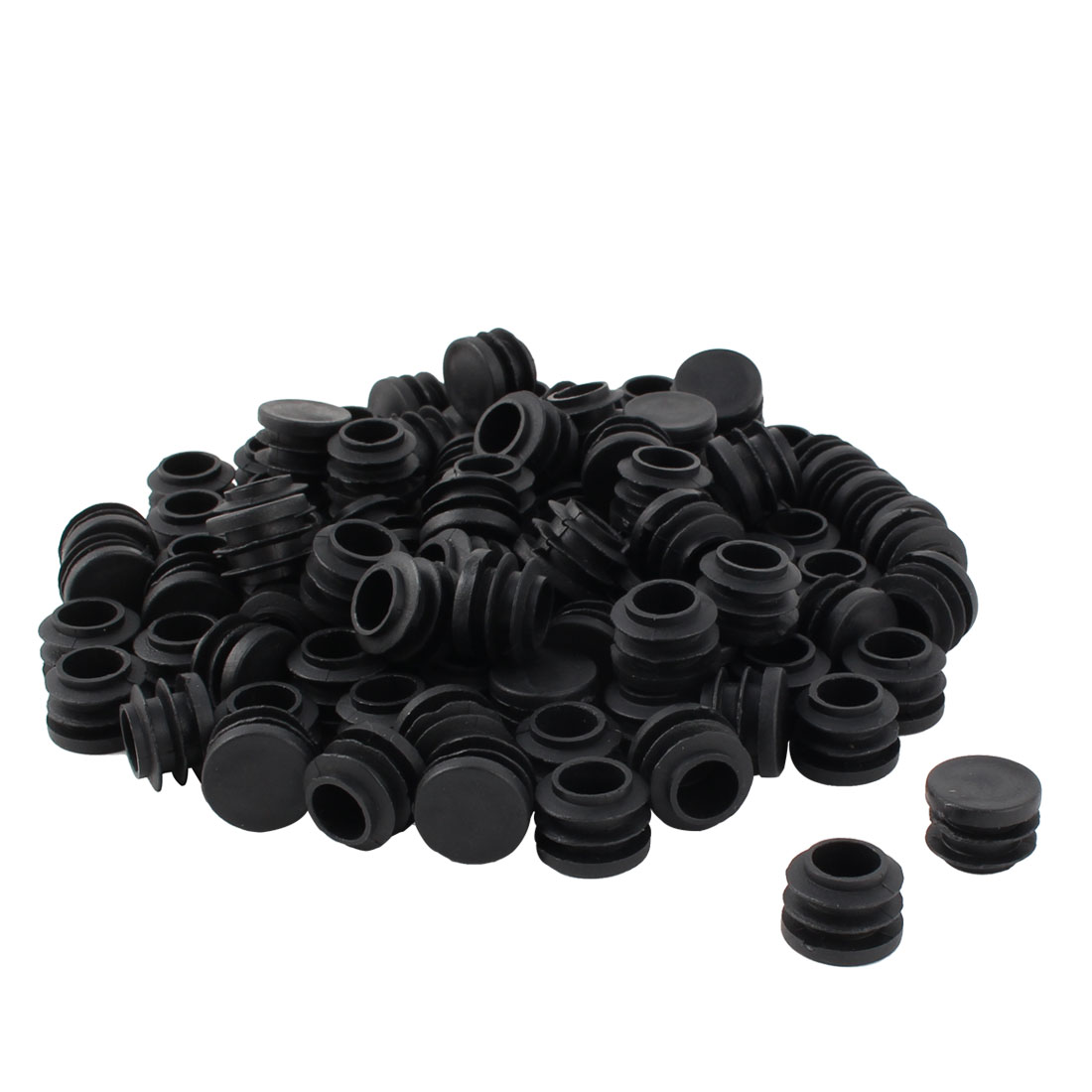 Furniture Table Chair Plastic Round Tube Pipe Insert Cap Cover Protector Black 19mm Dia 100pcs