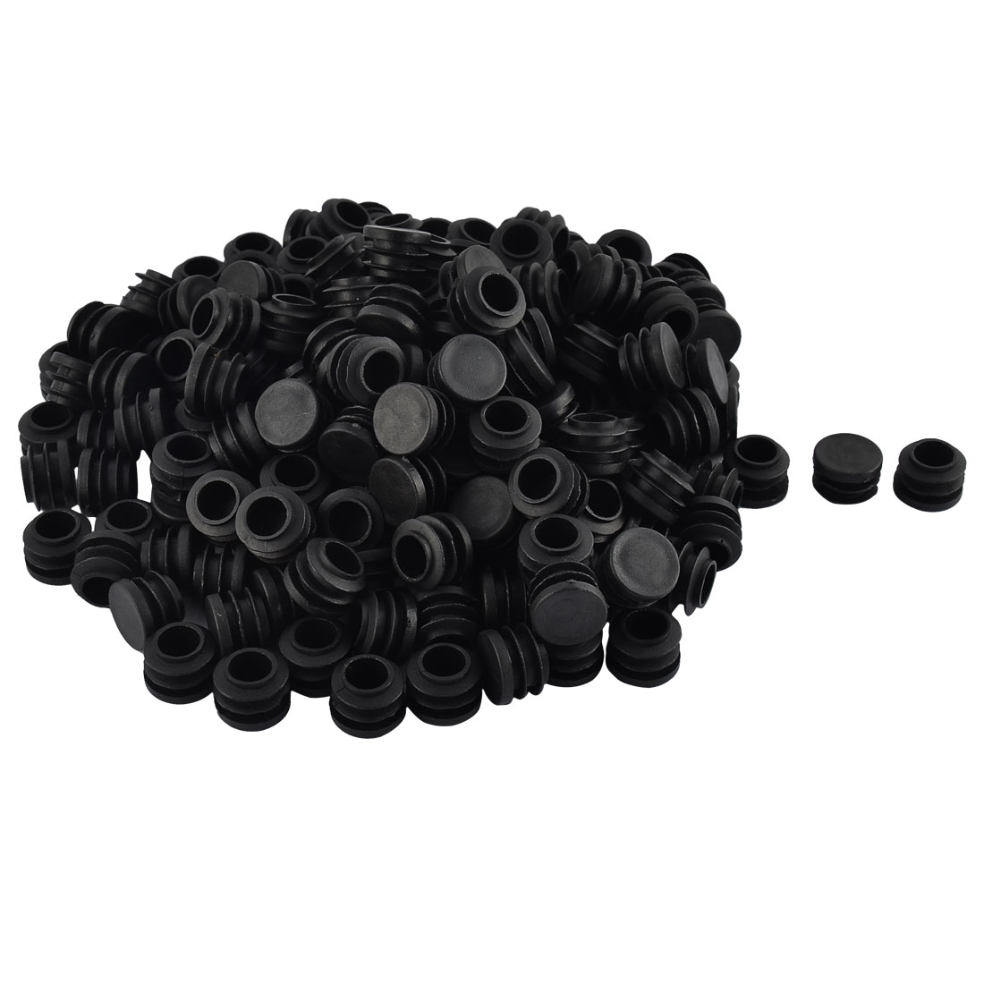 Furniture Table Chair Plastic Round Tube Pipe Insert Cap Cover Protector Black 19mm Dia 200pcs