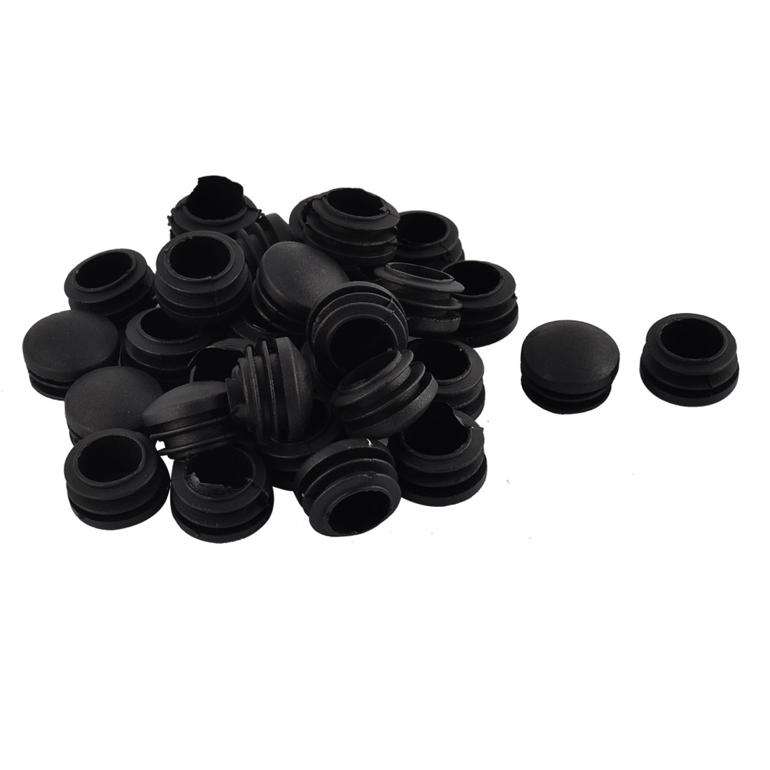 Furniture Table Chair Legs Plastic Round Head Tube Pipe Insert Cap Cover Black 25mm Dia 30pcs