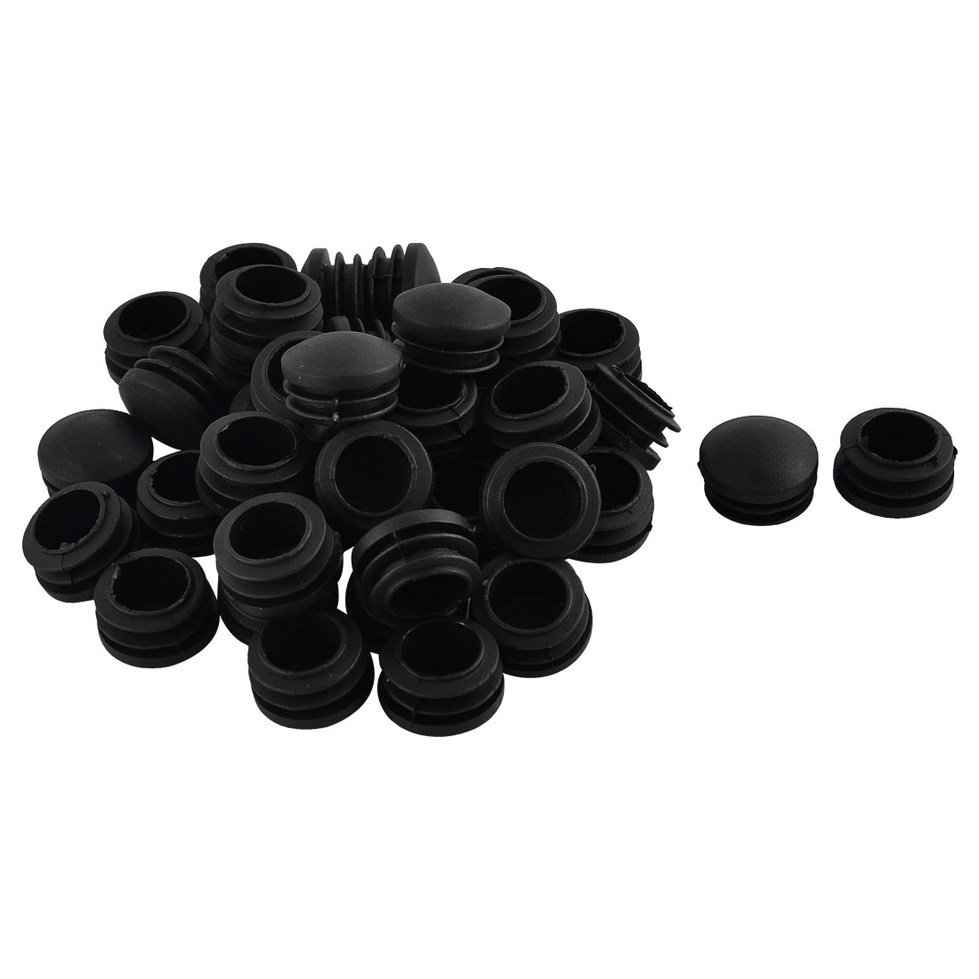 Furniture Table Chair Legs Plastic Round Head Tube Pipe Insert Cap Cover Black 25mm Dia 40pcs