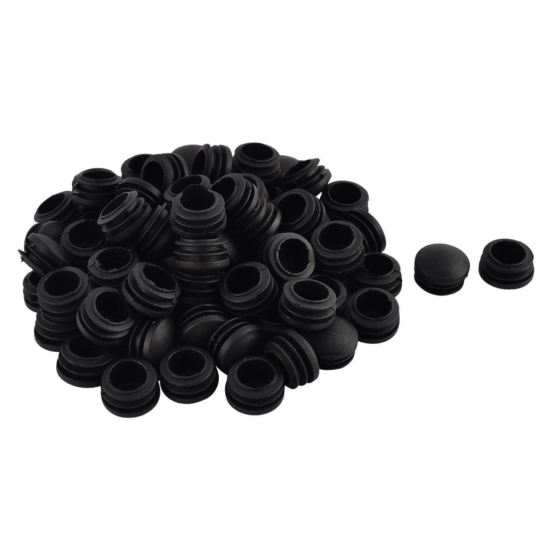 Furniture Table Chair Legs Plastic Round Head Tube Pipe Insert Cap Cover Black 25mm Dia 70pcs