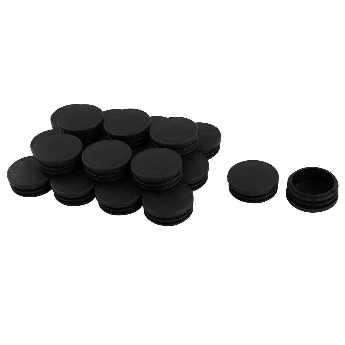 Furniture Table Chair Legs Plastic Round Tube Pipe Insert Cap Cover Black 45mm Dia 20pcs