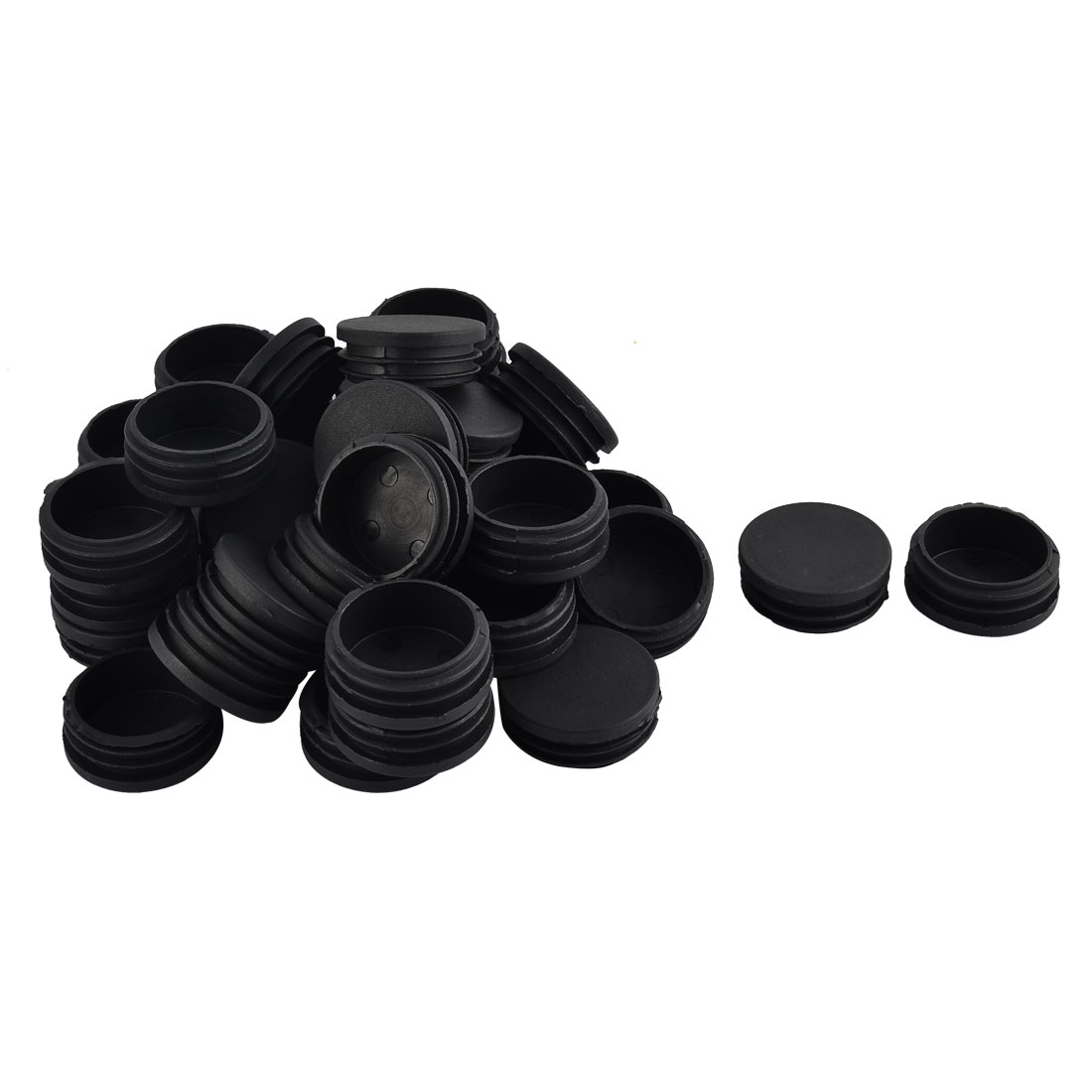 Furniture Table Chair Legs Plastic Round Tube Pipe Insert Cap Cover Black 45mm Dia 40pcs