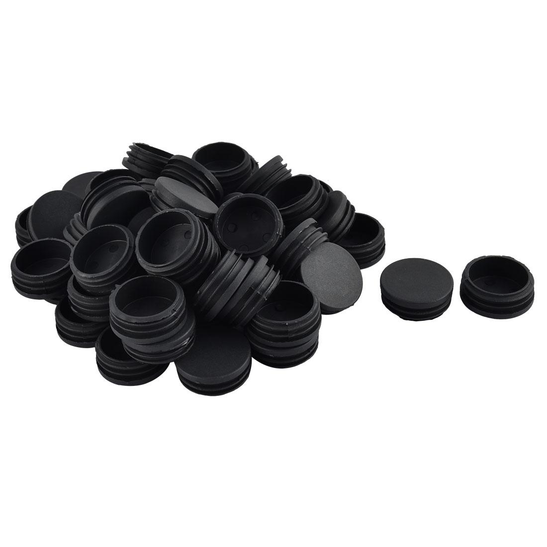 Furniture Table Chair Legs Plastic Round Tube Insert Cap Cover Black 45mm Dia 50pcs