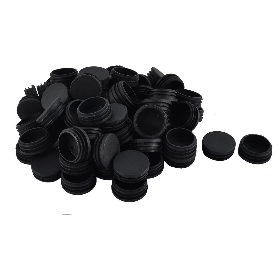 Furniture Table Legs Plastic Round Tube Pipe Insert Cover Black 45mm Dia 70pcs