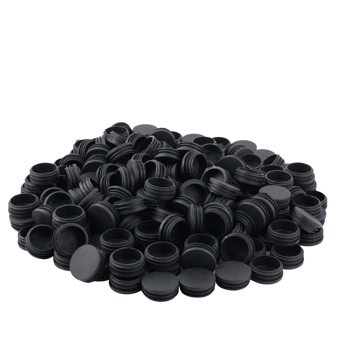 Furniture Table Legs Plastic Round Tube Pipe Insert Cover Black 45mm Dia 200pcs