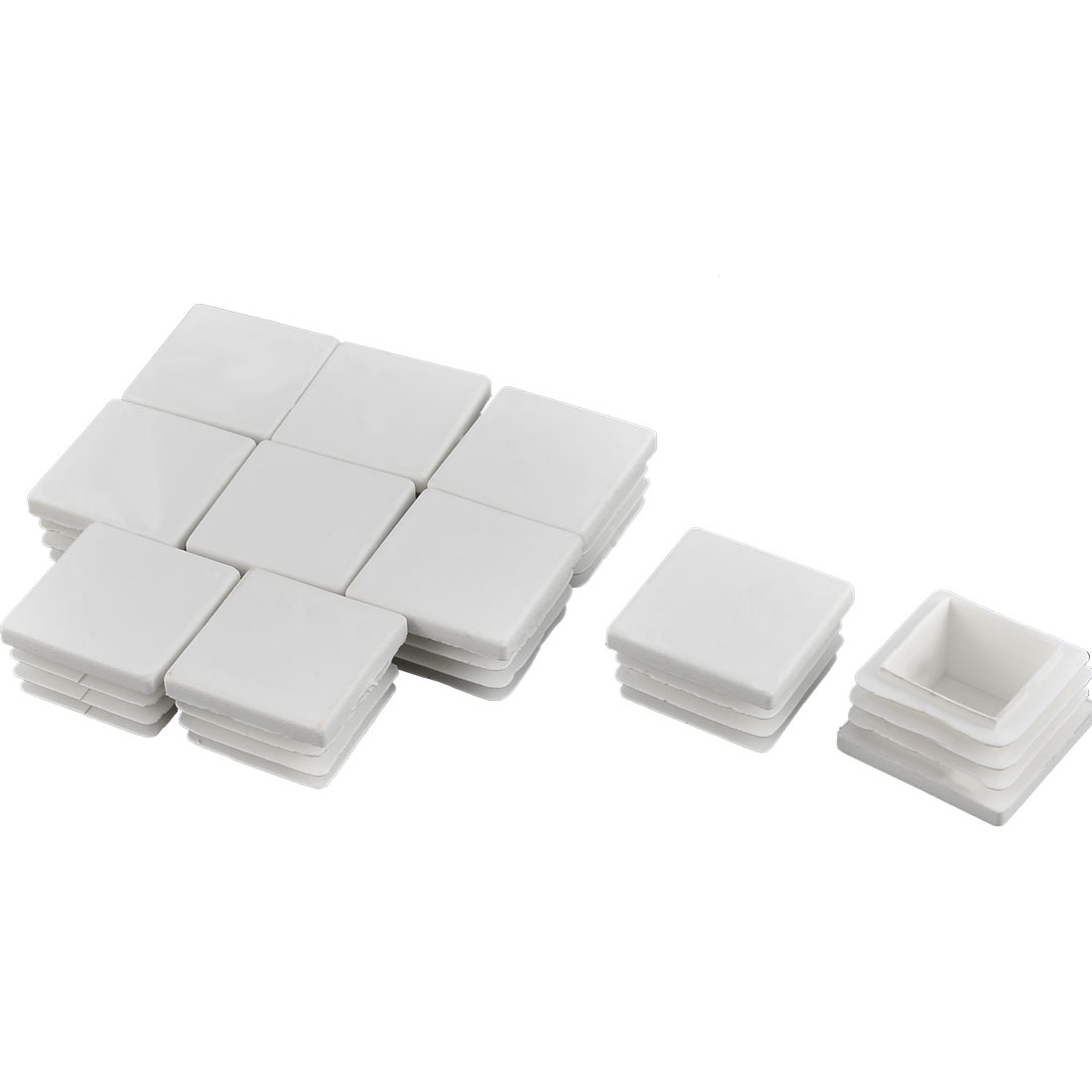 Furniture Table Chair Legs Plastic Square Tube Insert Cap Cover Protector White 30 x 30mm 10pcs